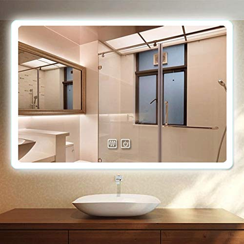 JKFZD Rectangle Wall Mounted Touch Illuminated LED Bathroom Mirror Touch Sensor Demister - Illuminated Demister Bathroom Led Mirrors Sensor