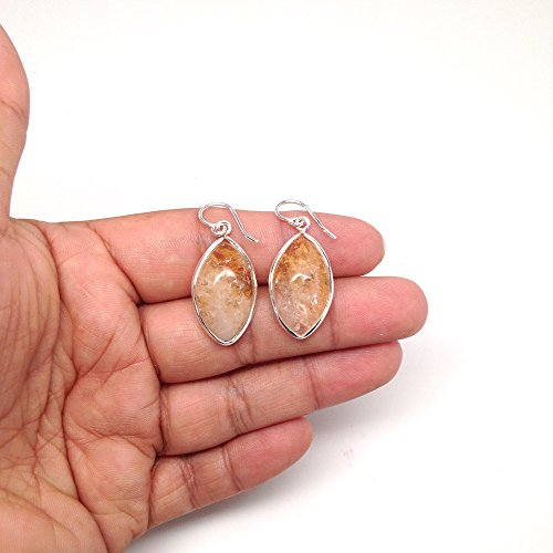 38 cts Gorgeous Citrine Navette Cab Earrings Sterling Silver Handmade from Brazil, Buyer Will Receive Exact Item Pictured, (Navette Gemstone)