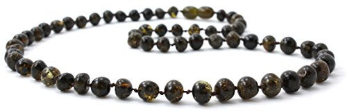 Baltic Amber Necklace for Adults - Size 23.5 inches (60 cm) - Suitable for Women and Men - Polished Dark Green Amber Beads - BoutiqueAmber (23.5 inches, Dark (Green Amber Beads)