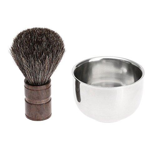 dophee 1Set Men Pure Black Best Badger Hair Wet Shaving Brush Mug Bowl Shave Tool Kit by dophee