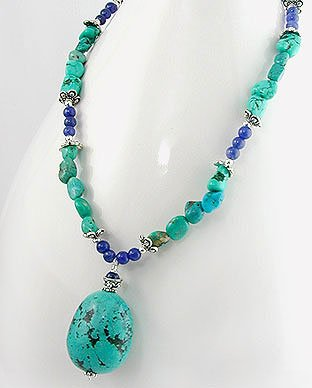 Genuine Turquoise and Blue Lapis Gemstone Sterling Silver 18