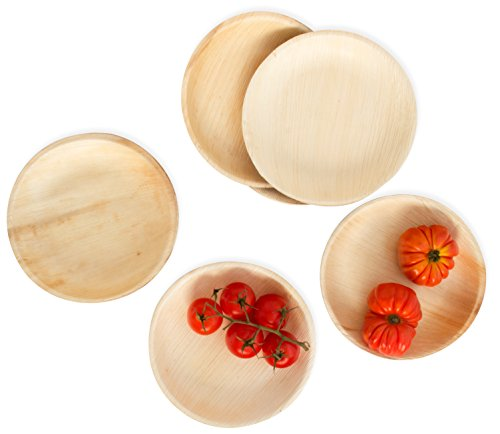 Leafily Palm Leaf Plates - 7 inch Round - Heavy Duty - Elegant - 100% Compostable - Better than Bamboo or Wood - Disposable - Biodegradable - Premium Party Plates - USDA Certified - 22 Count