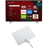 TCL 43S405 43-Inch 4K Ultra HD Roku Smart LED TV (2017 Model) with Winegard FlatWave Micro FL-2000 Digital HD TV Indoor Antenna