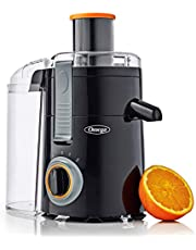 Omega C2000B2 Chute High Juicer Makes Fresh Fruit and Vegetable Juice Features 3 Speeds Compact Design Large 4-Cup Pulp Container, 250W, Black