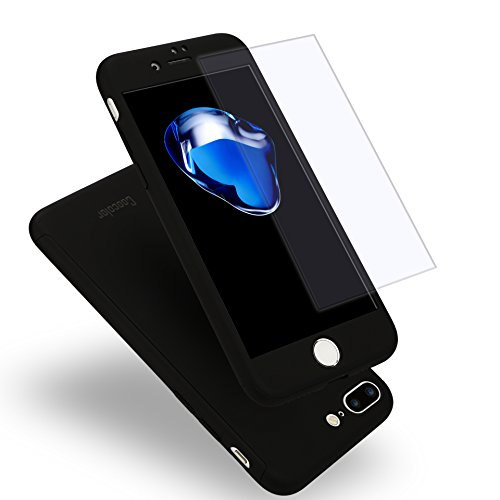 iPhone 7 Plus Case, Coocolor [Perfect Fit] 360 Degree All-around Ultra Thin Full Body Coverage Protection Dual Layer Hard Slim Case + Tempered Glass Screen Protector For iPhone 7 Plus-Black