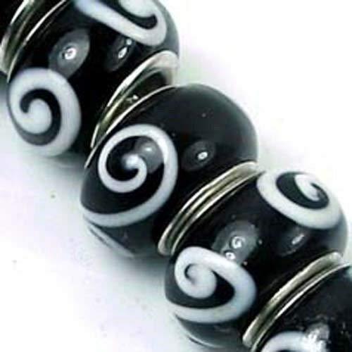 Lampwork Handmade Glass Black White Fit Charm Bracelet Spire 8 Charms