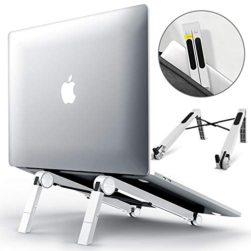 Portable Laptop Desk Stand Foldable Adjustable Height Portable Laptop Stands for MacBook Pro Air, Notebook, Lenovo, Dell, and More Laptops White