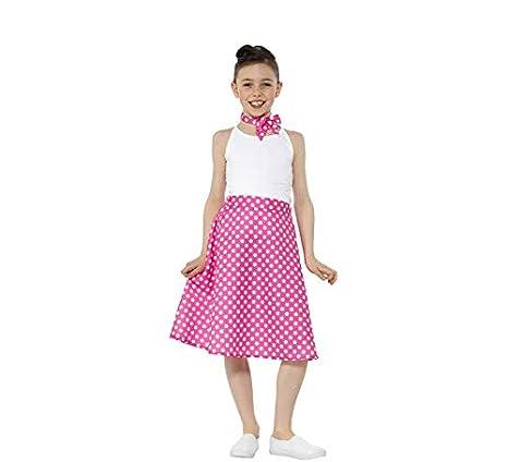 Smiffys Kit Años 50 Rosa para niña: Falda a Lunares y Pañuelo ...