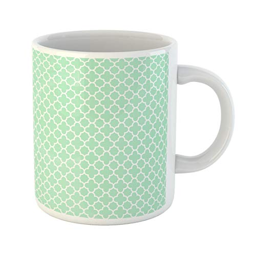 Semtomn Funny Coffee Mug Green Wedding for Light Mint Quatrefoil Pattern 300 Baner 11 Oz Ceramic Coffee Mugs Tea Cup Best Gift Or -