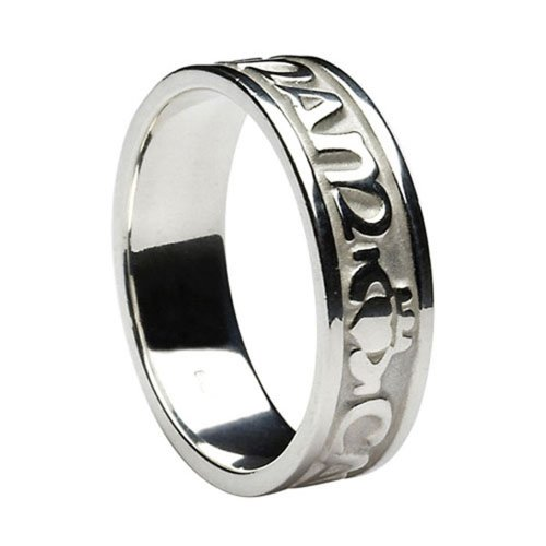 Ladies Mo Anam Cara Irish Wedding Band 10k White Gold Irish Made