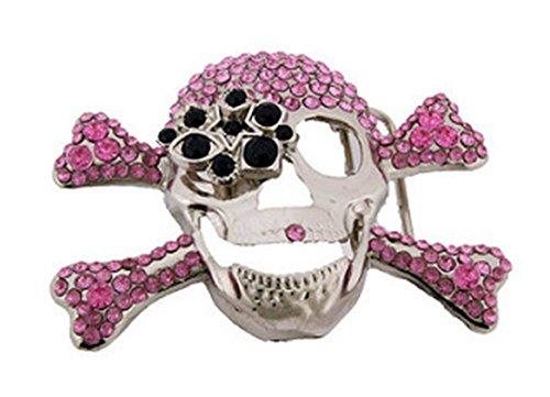 (Skull Belt Buckle Pink Crossbones Skeleton Rhinestone)