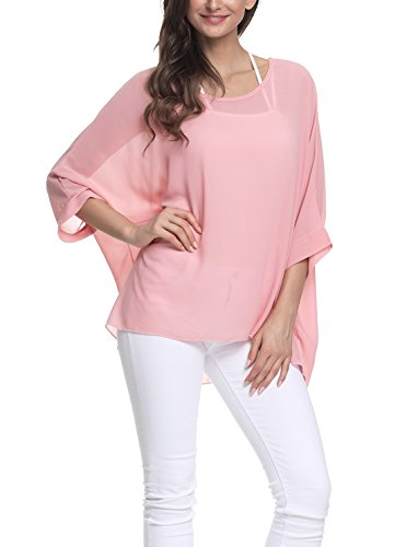Image result for Vanbuy Women Summer Floral Printed Batwing Sleeve Top Chiffon Poncho Casual Loose Shirt