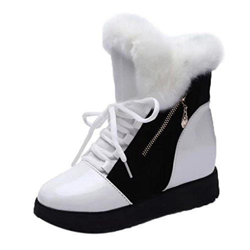 Inkach Womens Winter Snow Boots Shoes Faux Fur Lining Round Toe Flat Ankle Booties Lace Up Shoes (6.5, White)
