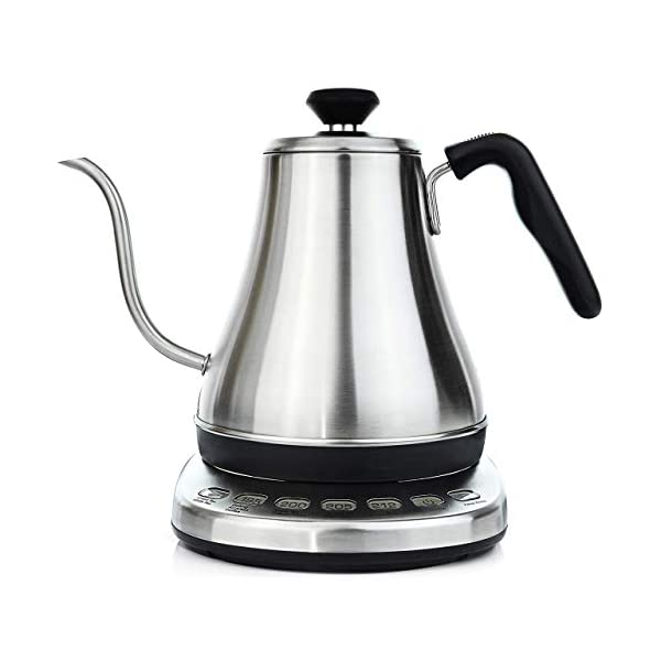 Gooseneck Electric Kettle with Temperature Control & Presets - 1L, Stainless Steel - Tea & Pour Over Coffee Kettle 1