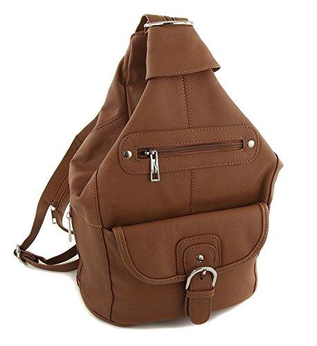 Womens Leather Convertible 7 Pocket Medium Size Tear Drop Sling Backpack Purse Shoulder Bag, Light Brown (One Back Pocket)