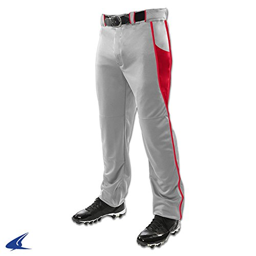 Champro BP92U Adult Baseball Pants with BRIAD Pipe Triple Crown Open Bottom 2 Grey, Scarlet M