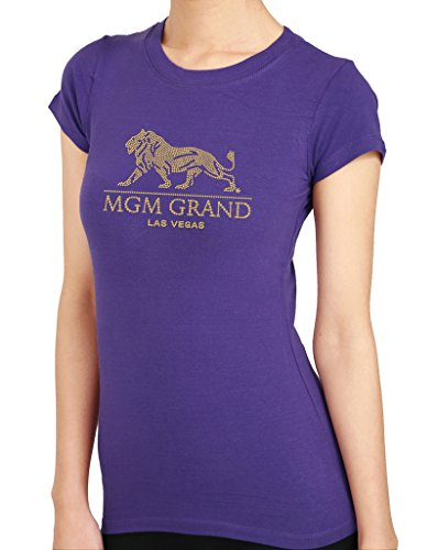 Price comparison product image Hand Made MGM Grand Las Vegas Rhinestone Stud Women's T-Shirts