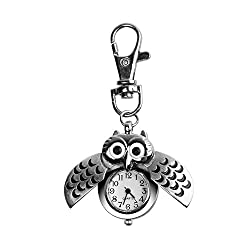 Kloud City Unisex Vintage Silver Owl Pocket Watch Keychain with Wings Open Locket Mini Key Ring Watch Quartz Number Clock