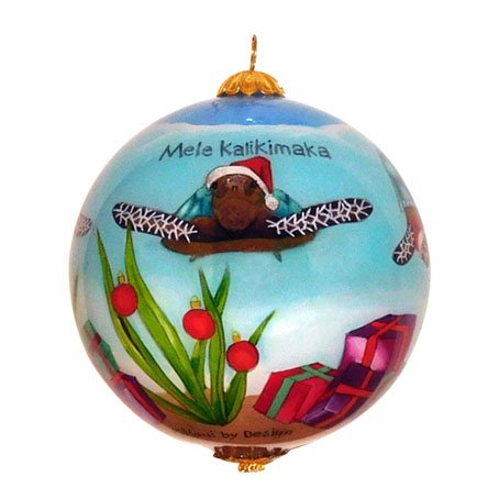Maui By Design Cute Hawaiian Christmas Ornament: Adorable Sea Turtles Celebrate Christmas -