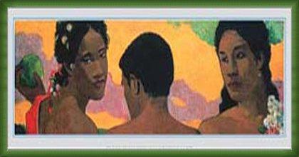 ポスター ポール ゴーギャン 3人のタヒチ人 額装品 ウッドベーシックフレーム(グリーン) B0031NYKVS グリーン グリーン