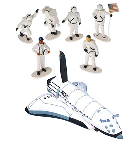 (Awesome Outer Space Astronaut Party Favors ~ One (1) Inflatable Space Shuttle & Six (6) Astronaut Figures ~ Galaxy, Giveaways, Goody Bag, Classroom)