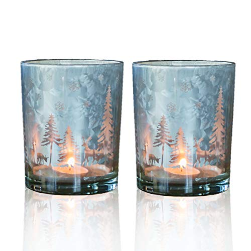 (lEPECQ Christmas Votive Candle Holder, Christmas Tealight Candle Holder 3.14