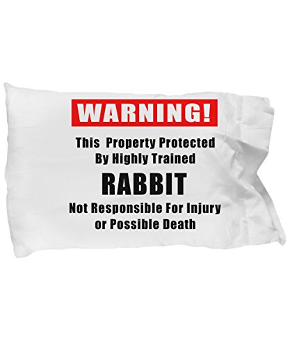 Warning Large Mug (FUNNY BUNNY RABBIT PILLOWCASE BEDDING - Bunnie Rabbits Lover Gift Pillow Case Cover - Warning This Property Protected By A Highly Trained Rabbit - Present For A Bun Mom, Dad Or Parents Hoppy Birthday)