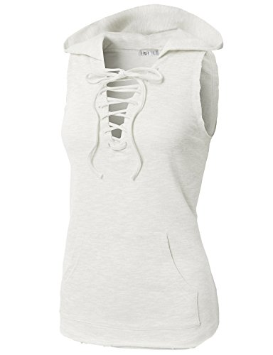 H2H Women's Soft Baby French Terry Sleeveless Hoodie Plain White US XL/Asia XL (Baby Rib Sleeveless Hoody)