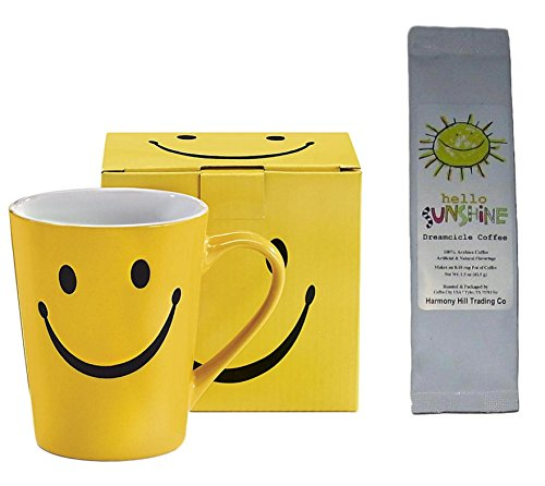 Smiley Face Coffee Mug Cup with Hello Sunshine Dreamcicle Coffee Gift Set 2 Piece Bundle