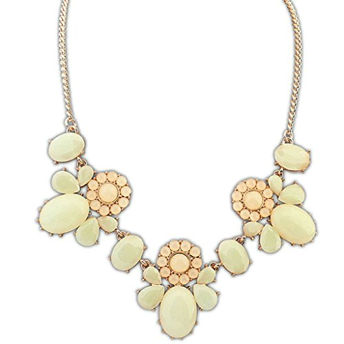 Epinki Gold Plated Womens Girls Statement Necklace Choker Necklace Multi Shape White ()