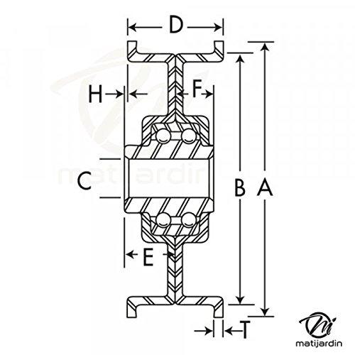 Pi/èce neuve /Ø 101 mm Poulie gorge plate acier avec roulement renforc/é Diam/ètre rebord 120 mm