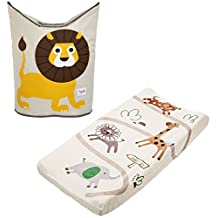 3 Sprouts Laundry Hamper with Summer Character Change Pad, Safari