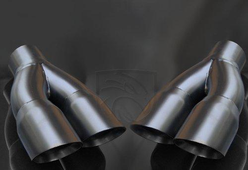 Black Powder Coated Exhaust Muffler Tip Dual Round Staggered Forward Slash Cut Rolled Edge 2.5