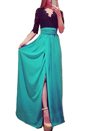 Encaje Elegante profundo escote en v abertura Patchwork Maxi vestido de noche de la mujer
