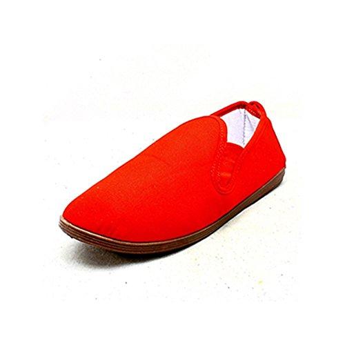 Damen Canvas Slip auf Pumpen / Espadrilles Rot