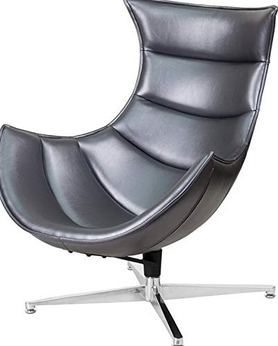 Campton Retro Style Gray Leather Swivel Cocoon Accent Chair Cocoon Lounge Chair | Model LNGCHR - 118