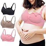 Women Seamless Nursing Support Maternity Sleep Bra Wirefree Bralette with Padded Push Up for Pregnancy Breastfeeding (XL, (Black+Beige+Pink)/Pack)