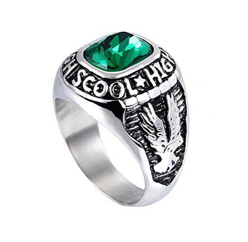 (HIJONES Men's Stainless Steel Engraved Eagle High School Class Ring with Green Glass Silver Size 11)