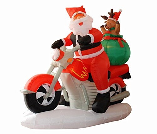 Northlight 6.5' Inflatable Santa Claus on Motorcycle Lighted Christmas Yard Art - Motorcycle Santa On