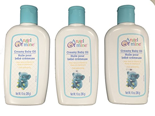 Creamy Baby Oil with Aloe Vera & Vitamin E - 10 oz, (Angel of Mine) (Pack of 3)