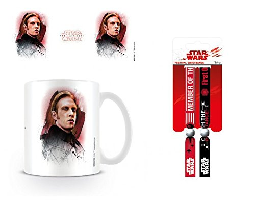 Set: Star Wars, Episode VIII, The Last Jedi General Hux Brushstroke Photo Coffee Mug (4x3 inches) and 1 Star Wars, Wristband for Collectors (4x1 inches)