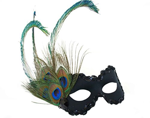 Success Creations Peacock Paradise Black Masquerade Mask for Women -
