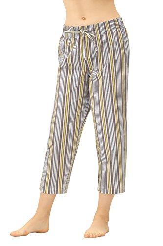 CYZ Women's 100% Cotton Woven Pajama Capri-LemongrassStripe-XL ()