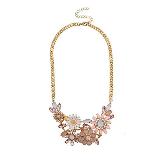 Lux Accessories Goldtone Pastel Pink Multicolor Floral Flower Statement Necklace