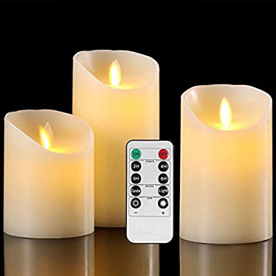 Aku Tonpa Flameless Candles Pack of 3 Battery Operated Pillar Real Wax Flickering Moving Wick Electric LED Candle Gift Sets with Remote Control Cycling 24 Hours Timer