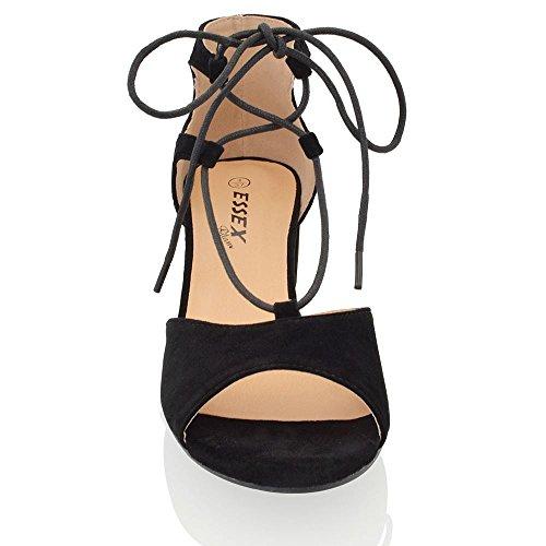 ESSEX GLAM Sintético Sandalias de punta abierta con tacón bajo cuadrado y tiras Negro Gamuza Sintética