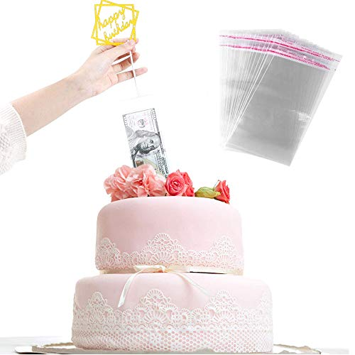 Deer Platz Cake Money Box, Cake Money Box Money Cake Dispenser Box, met 20 transparante zakken, voor verjaardagsfeestje…