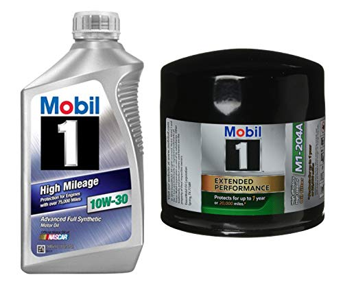 Mobil 1 High Mileage Full Synthetic Motor Oil 10W-30, 1-Quart, Single bundle with Mobil 1 M1-204A Extended Performance Oil -