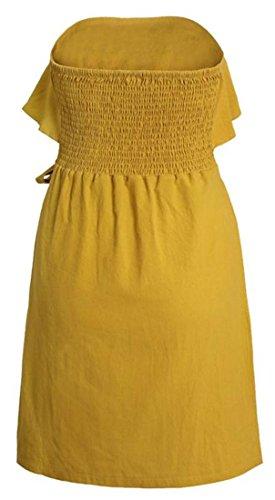 Grande Tang Élégante Des Femmes De Bouton Bustier Volantée Robe De Soirée En Bas Ceinturée Jaune