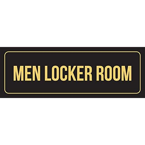 Top Black Background with Gold Font Men Locker Room Business Retail Outdoor & Indoor Plastic 3 x 9 Wall Sign - Single